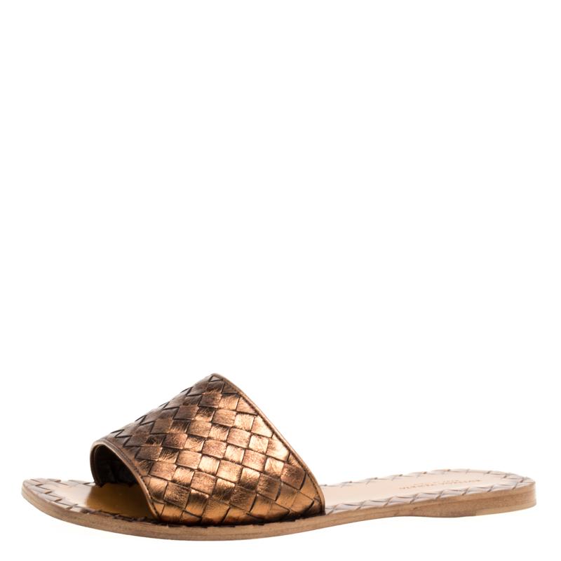 Bottega Veneta Metallic Bronze Intrecciato Leather Flat Slides Size 37