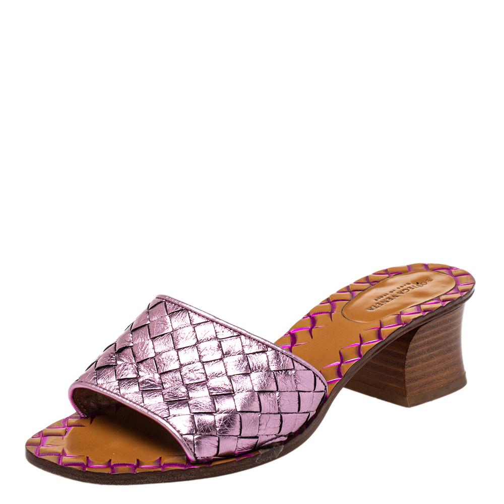 Pre-owned Bottega Veneta Metallic Purple Intrecciato Slide Sandals Size 36