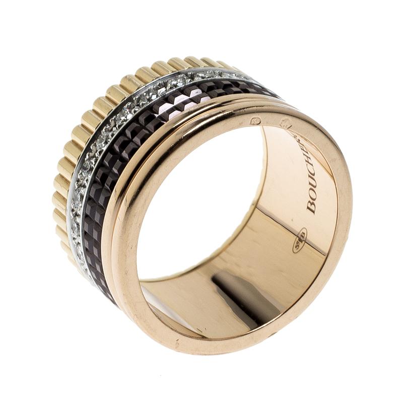 Купить со скидкой Boucheron Quatre Classique Diamond 18k Three Tone Gold Large Band Ring Size 53