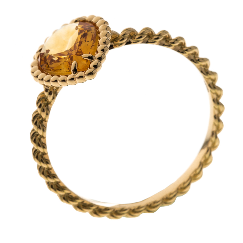 Boucheron Serpent Boheme Citrine 18k Yellow Gold Ring Size 56