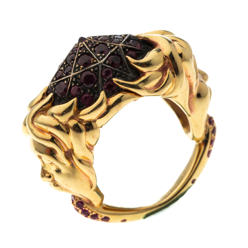 Купить со скидкой Boucheron Ruby Carved Face 18k Yellow Gold Dome Cocktail Ring Size 52.5