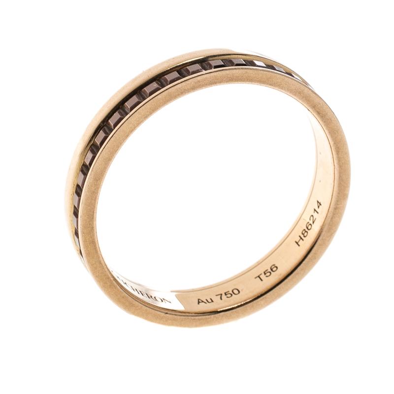 Купить со скидкой Boucheron Quatre Classique Brown PVD & 18k Rose Gold Band Ring Size 56