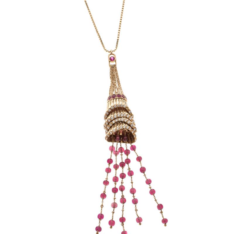 Купить со скидкой Boucheron Frou Frou 18k Yellow Gold Diamonds And Tourmaline Bead Soutoir Necklace