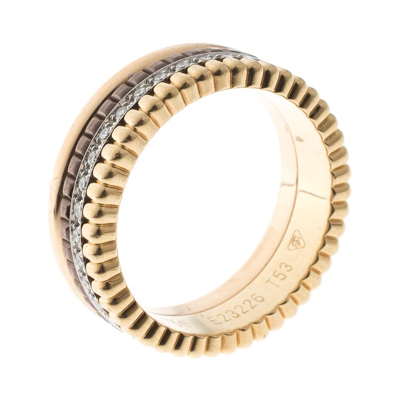 Фото #1: Boucheron Quatre Classique Diamonds 18k Three Tone Gold Band Ring Size 53