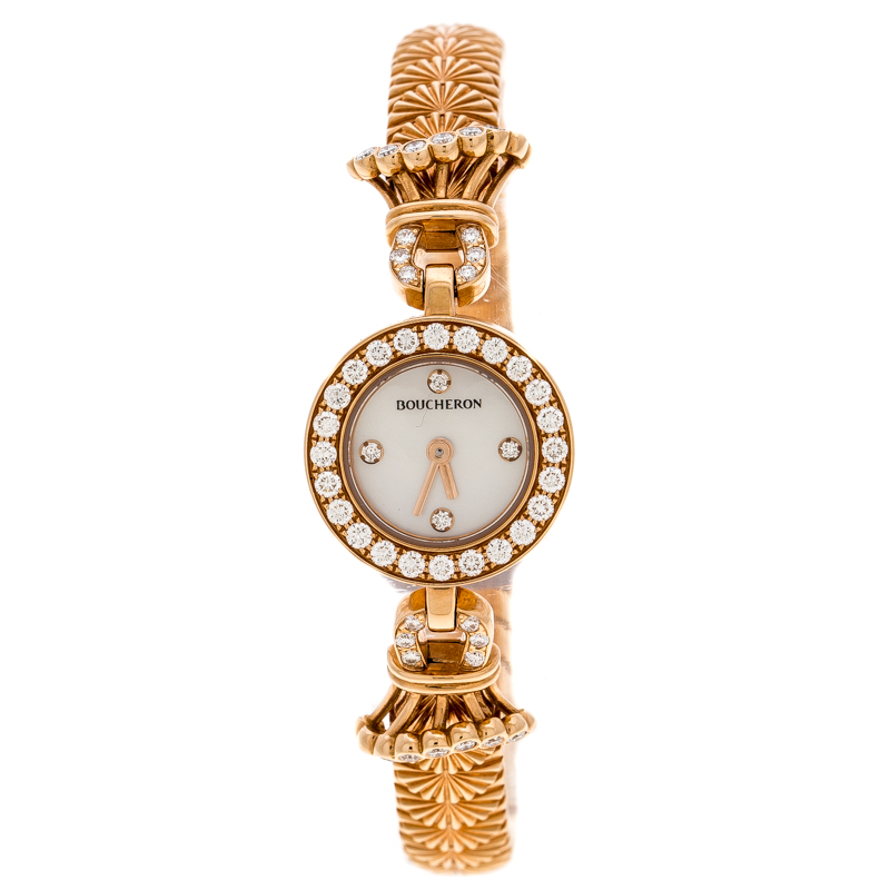 Boucheron Mother of Pearl Diamond & 18k Rose Gold Ma Jolie Women's Wristwatch 18MM