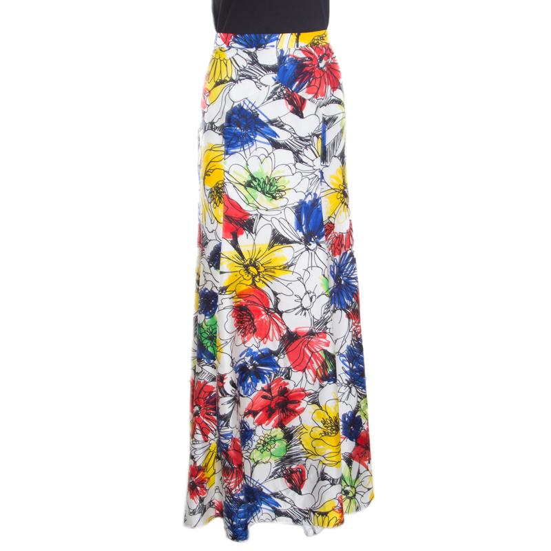 5671d3c9a59 ... Boutique Moschino Multicolor Floral Sketch Printed Silk Maxi Skirt M.  nextprev. prevnext