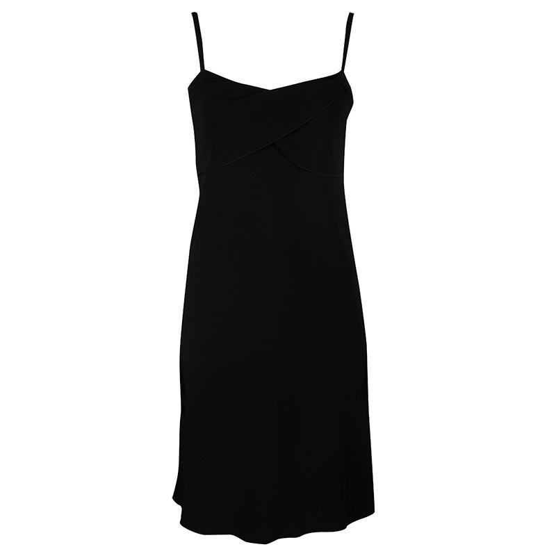 Boutique Moschino Black Drape Detail Sleeveless Dress S