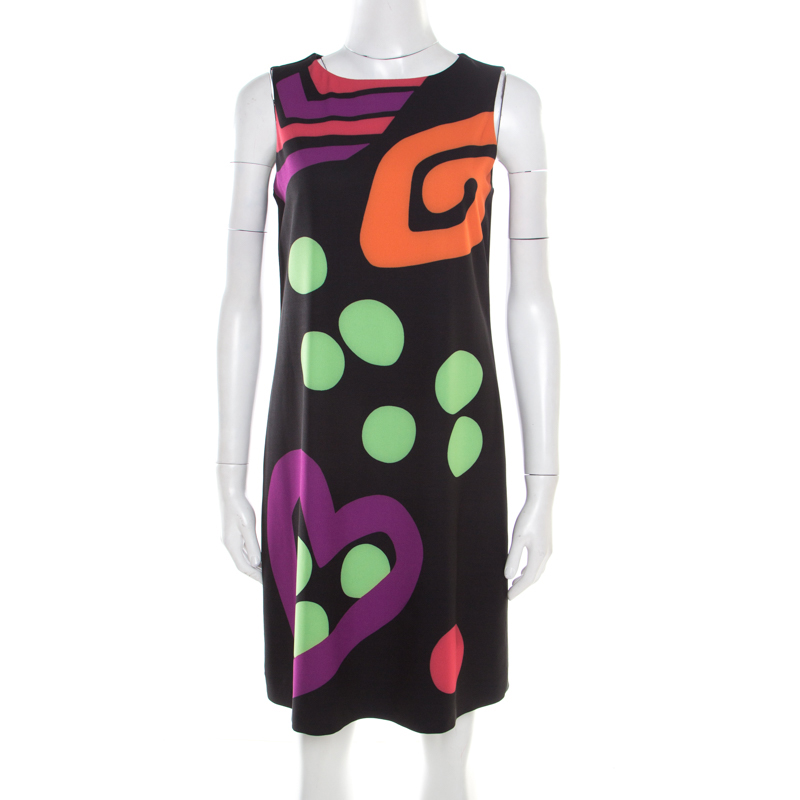 Boutique Moschino Black Abstract Printed Sleeveless Shift Dress M