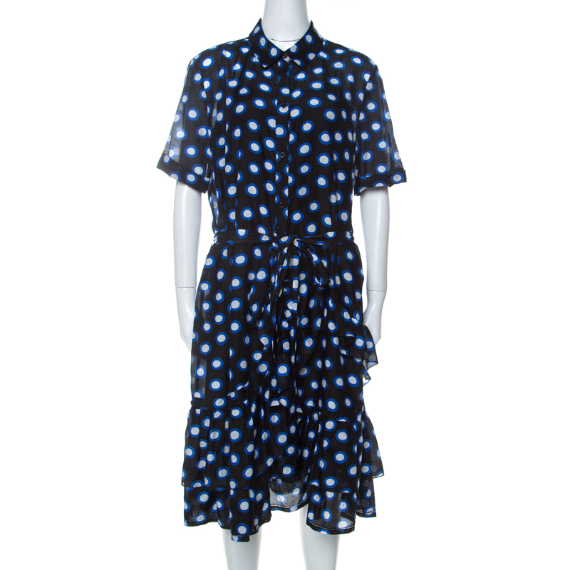 Boutique Moschino Black and Blue Polka Dot Cotton Ruffle Trim Belted Dress L