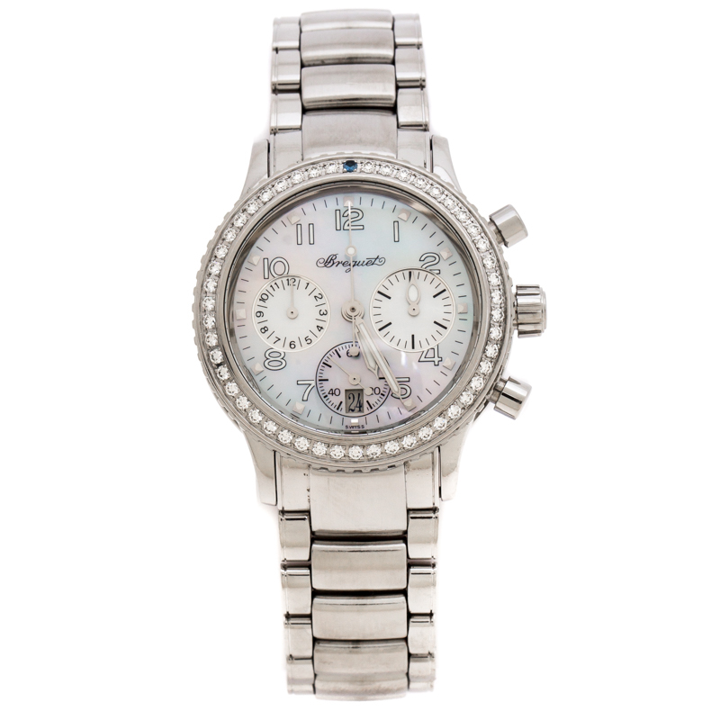 Breguet Mother of Pearl Stainless Steel Diamonds Transaltantique Type XX Ref.4821 Women's Wristwatch 33 mm
