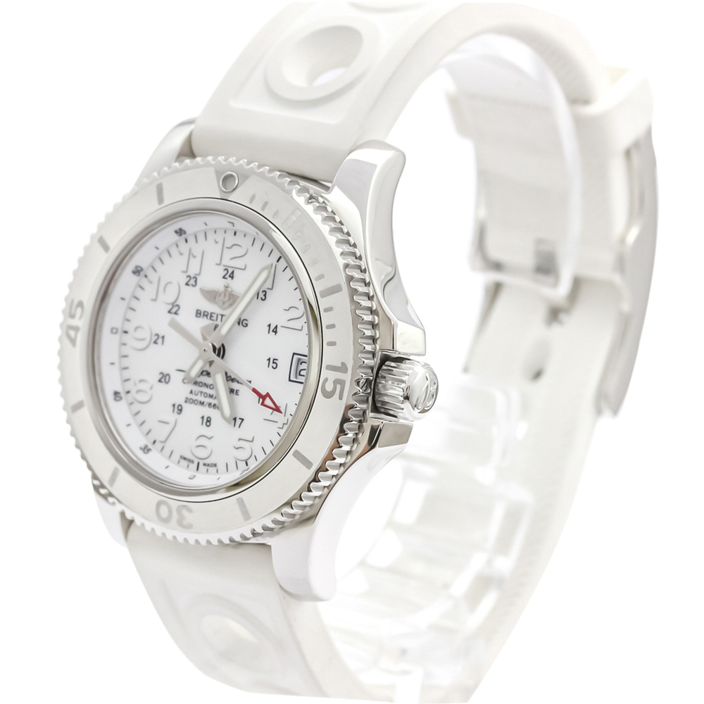Pre-owned Breitling White Stainless Steel Super Ocean Il Automatic A17312 Women's Wristwatch 36 Mm