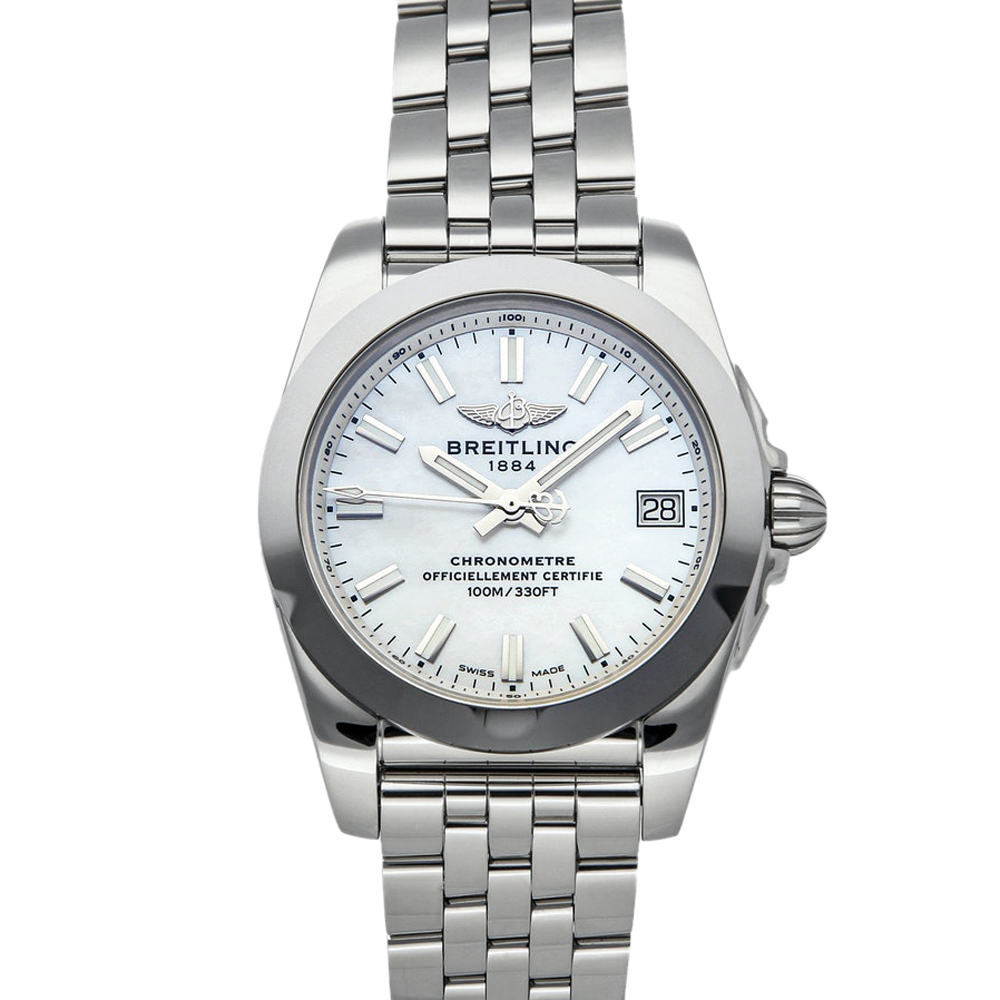 Pre-owned Breitling Mop Stainless Steel Galactic W7433012/a779 Women's Wristwatch 36 Mm In White