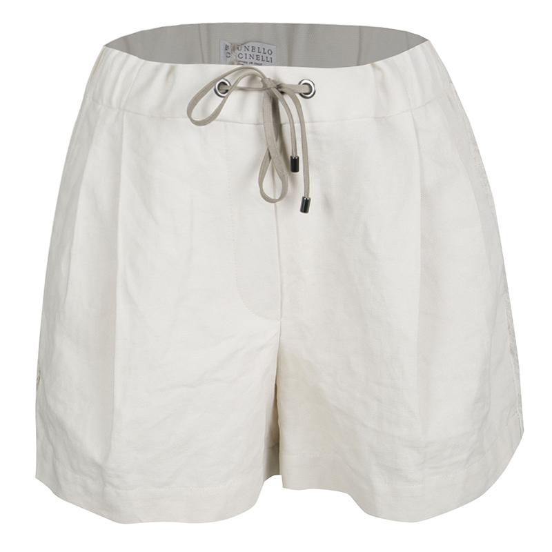 Купить со скидкой Brunello Cucinelli Beige Linen Cotton Fringed Side Seam Detail Shorts M