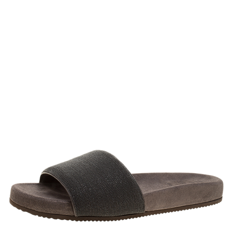 Brunello Cucinelli Metallic Grey Embellished Leather Monili Flat Slides Size 40.5
