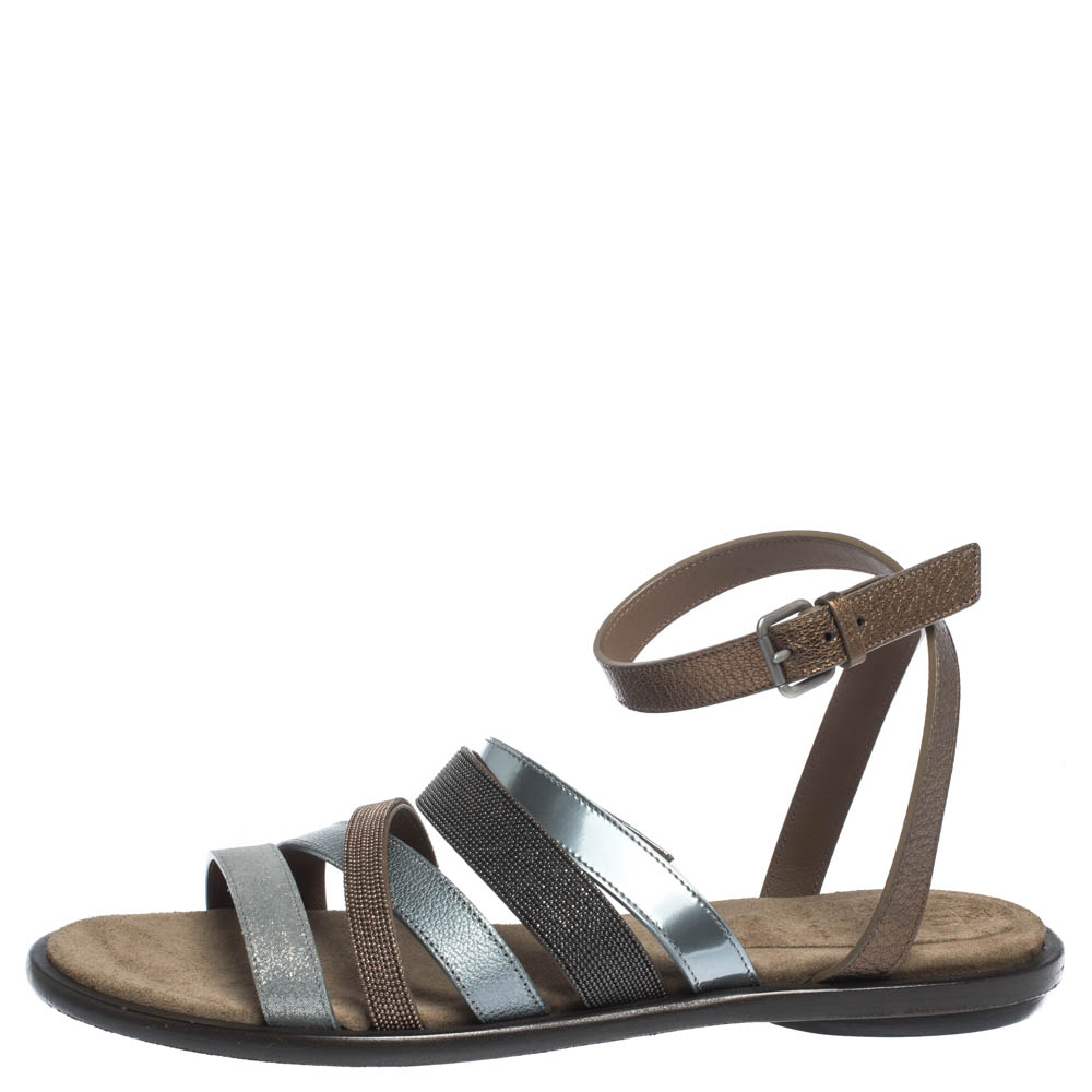 Brunello Cucinelli Multicolor Leather And Fabric Monile Crossover Ankle Strap Flats Size 39