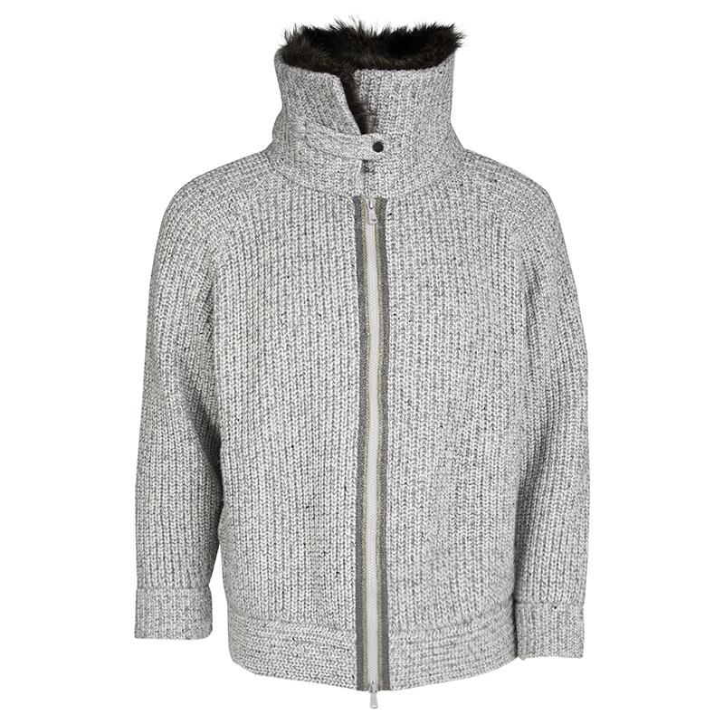 new product 63775 1b8bb Brunello Cucinelli Raccoon Fur Collar Monili Trim Oversized Cashmere Jacket  M