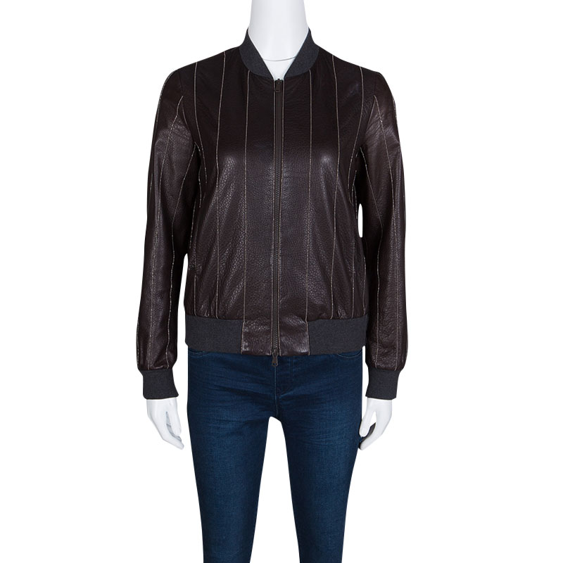 Brunello Cucinelli Brown Leather Embellished Zip Front Bomber Jacket