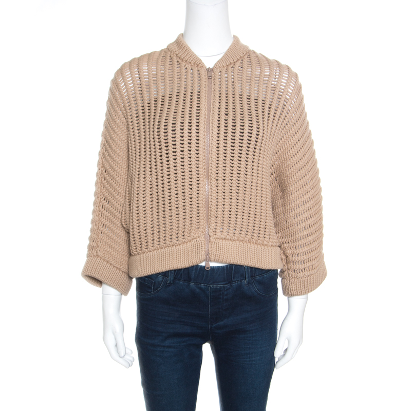Купить со скидкой Brunello Cucinelli Camel Brown Chunky Knit Batwing Sleeve Cropped Cardigan XL