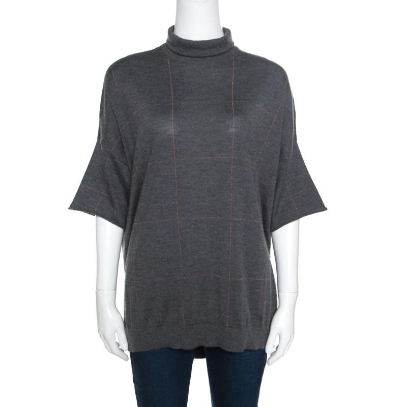 Brunello Cucinelli Grey Cashmere Lurex Knit Drop Shoulder Turtleneck Sweater S