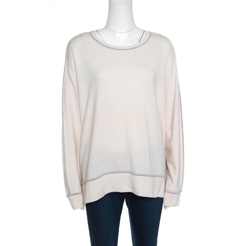 Фото #1: Brunello Cucinelli Cream Cashmere Contrast Piped Dolman Sleeve Sweater XL