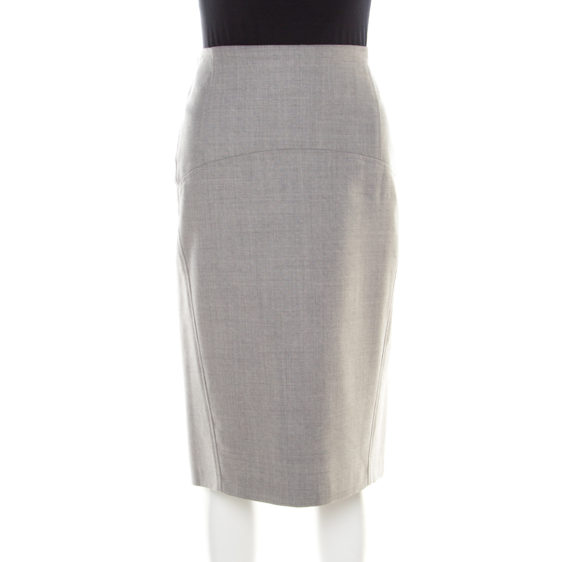 f1beded6df Buy Brunello Cucinelli Grey Wool Pencil Skirt L 185567 at best price ...
