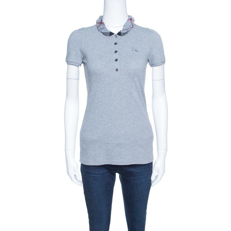 Burberry Brit Grey Melange Novacheck Collar Polo T-Shirt XS