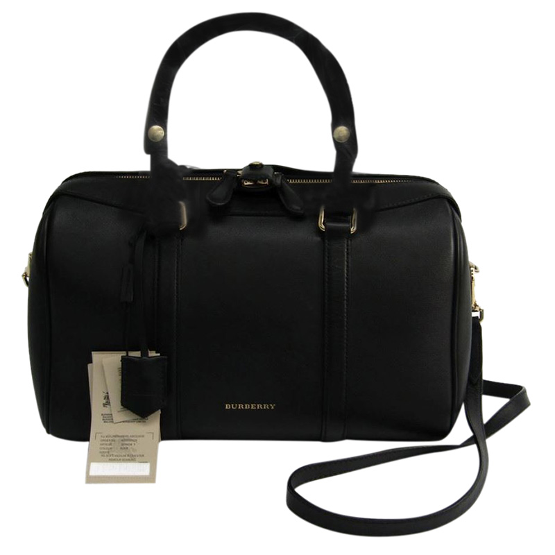 19836672 Buy Burberry Black Leather Medium Alchester Bowling Bag 124284 at ...