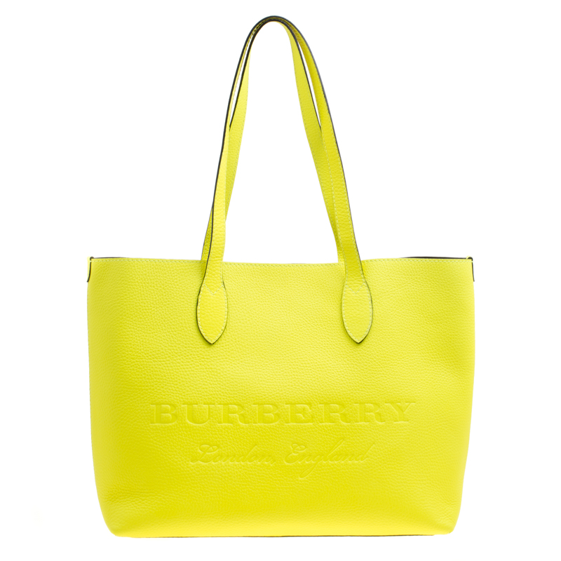 c45563aef65b Buy Burberry Neon Yellow Leather Remington Shopper Tote 163715 at ...