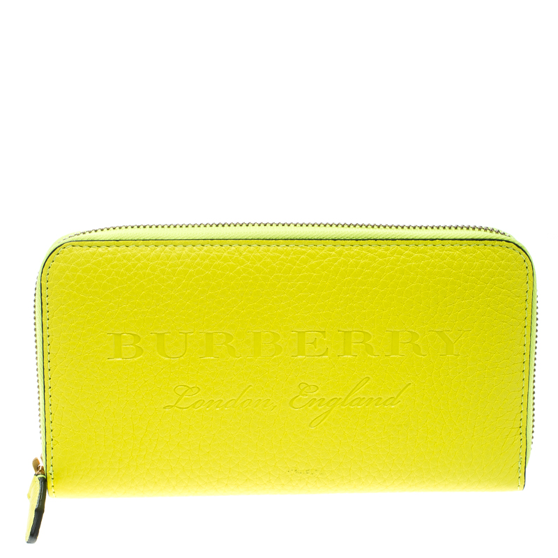 c55f3f92f357 Buy Burberry Neon Yellow Leather Zip Around Wallet 168960 at best ...