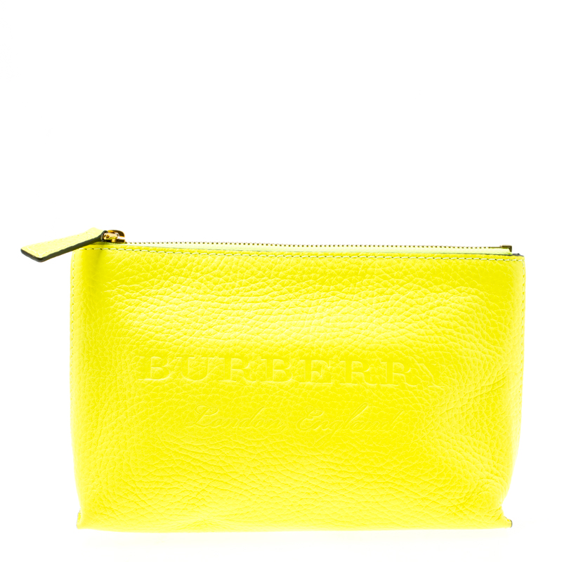 7bb2cd871273 ... Burberry Neon Yellow Leather Medium Duncan Zip Pouch. nextprev. prevnext