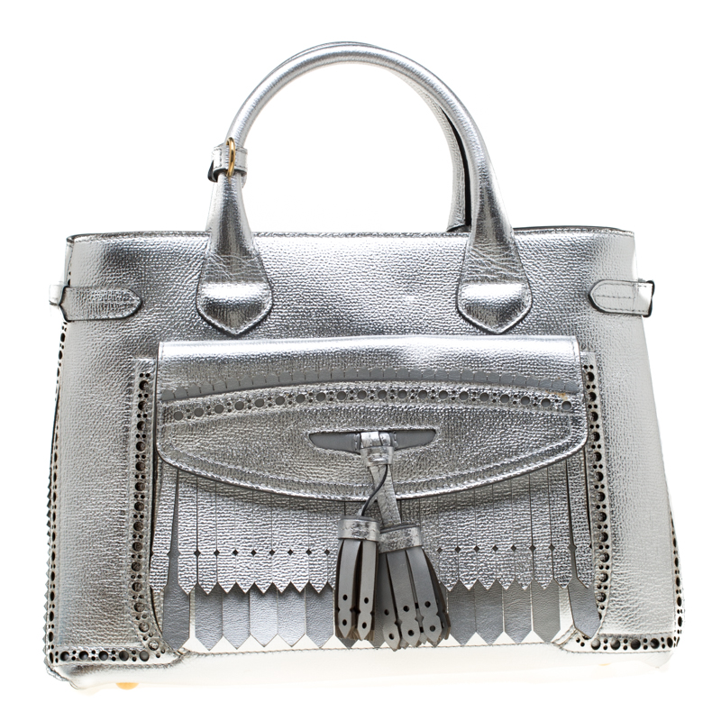 cc57395c672 ... Burberry Silver Leather Medium Brogue Banner Tote. nextprev. prevnext