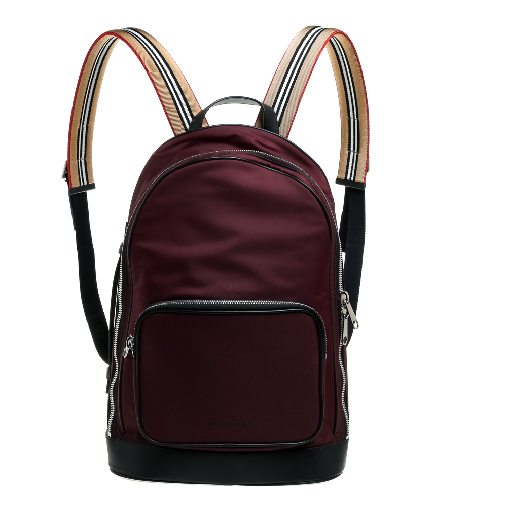 Burberry Burgundy/Black Nylon and Leather Rocco Cay Backpack