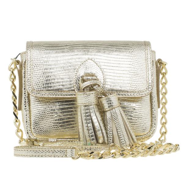 Burberry Metallic Gold Lizard Skin Tassel Crossbody Bag Nextprev Prevnext