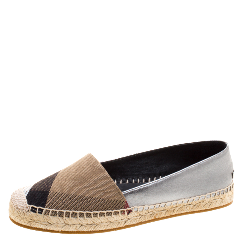 nuovi stili 6218a 6dfc1 Burberry Brown Checkered Canvas and Metallic Leather Hodgeson Espadrilles  Size 36.5