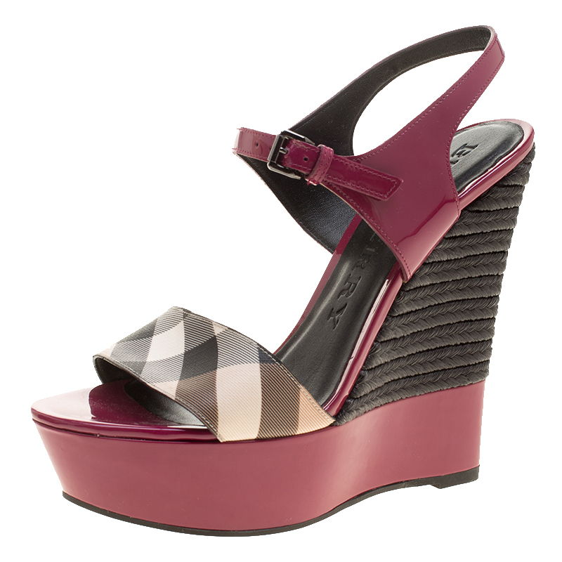 11818944267f ... Burberry Magenta Patent Leather and Canvas Espadrille Platform Wedge  Sandals Size 39.5. nextprev. prevnext