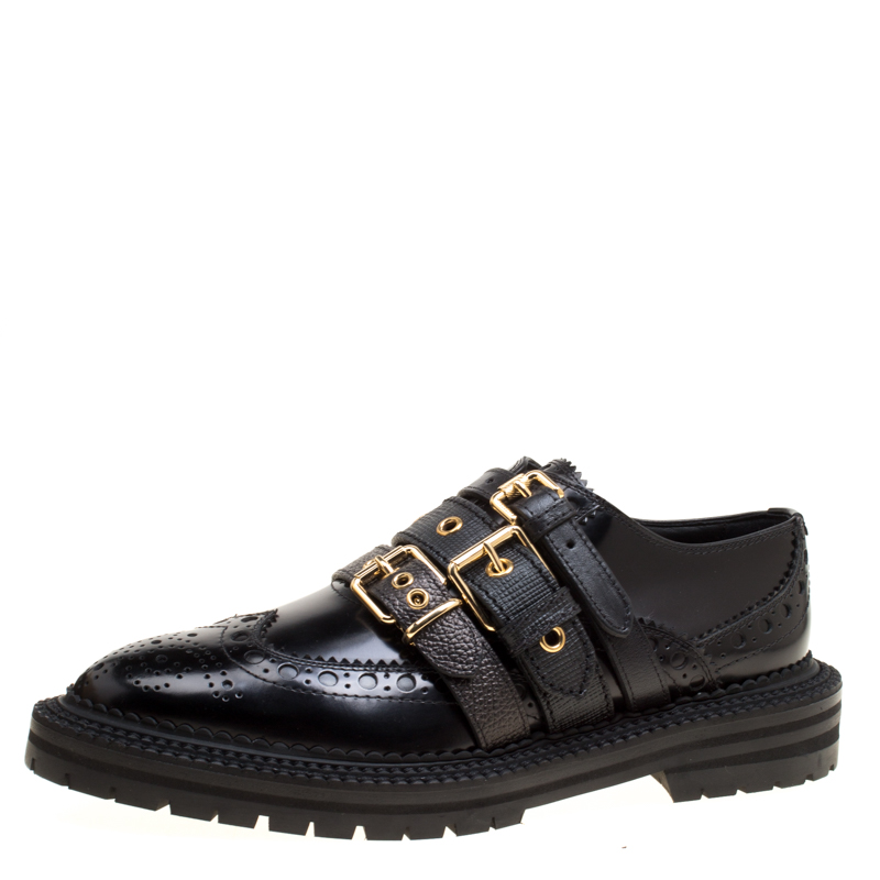 6d9dc82a1 Buy Burberry Black Leather Doherty Multi Strap Platform Brogues Size ...