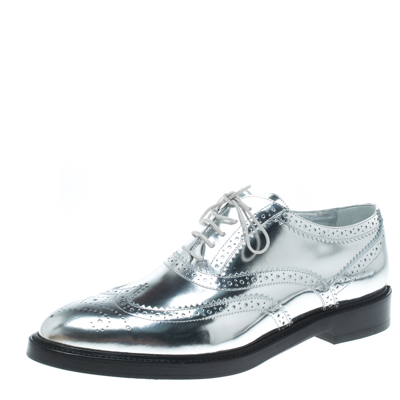 4442f9bd1a ... Burberry Metallic Silver Brogue Leather Gennie Lace Up Oxfords Size 40.  nextprev. prevnext