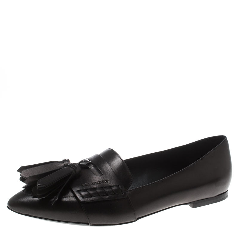 f2ed46d90ee ... Burberry Black Leather Coledale Tassel Detail Pointed Toe Penny Loafers  Size 39. nextprev. prevnext