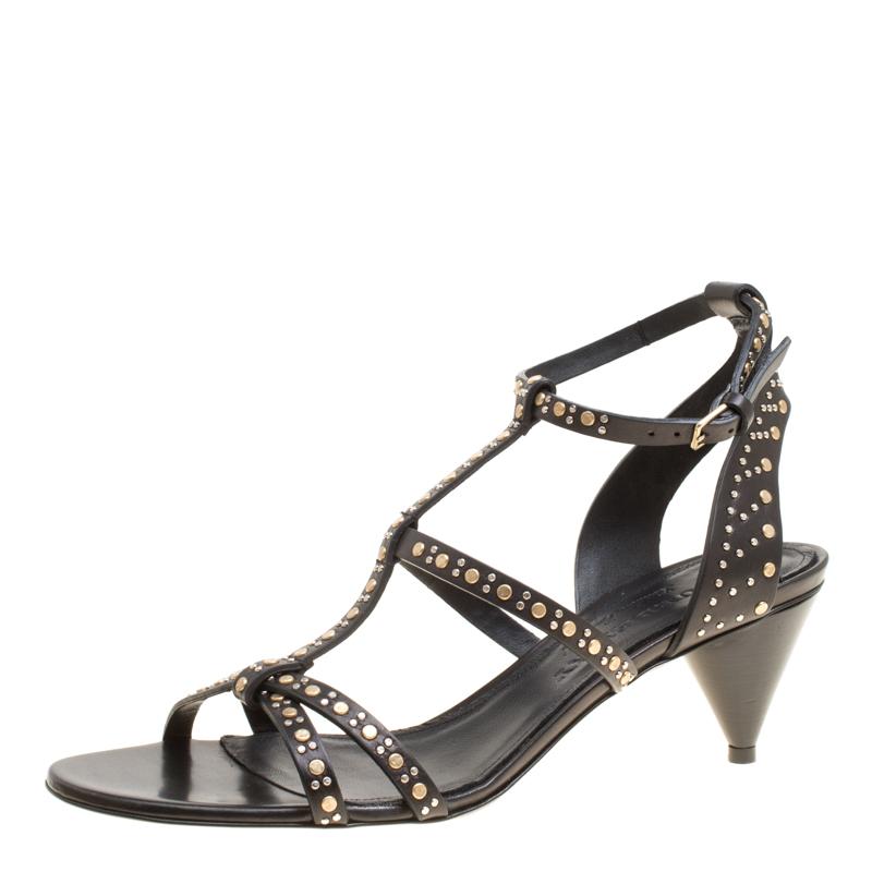 7dc1aec6b45 ... Burberry Black Leather Studded Hansel Cone Heel T Strap Sandals Size  37.5. nextprev. prevnext
