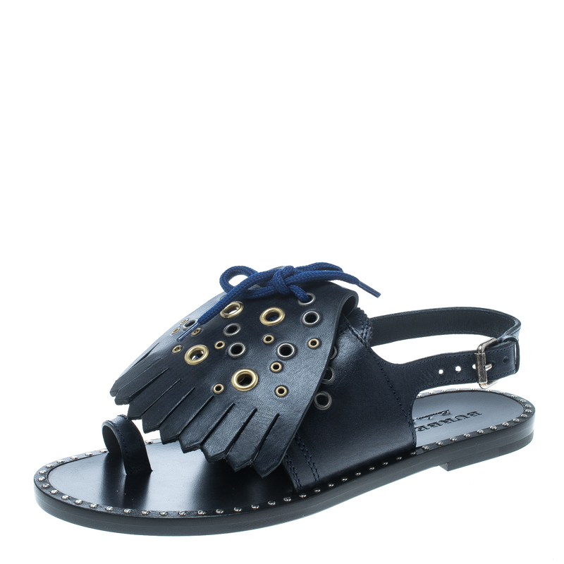 e64140ab642c ... Burberry Navy Blue Leather Kiltie Fringe Eyelet Detail Flat Sandals  Size 38. nextprev. prevnext
