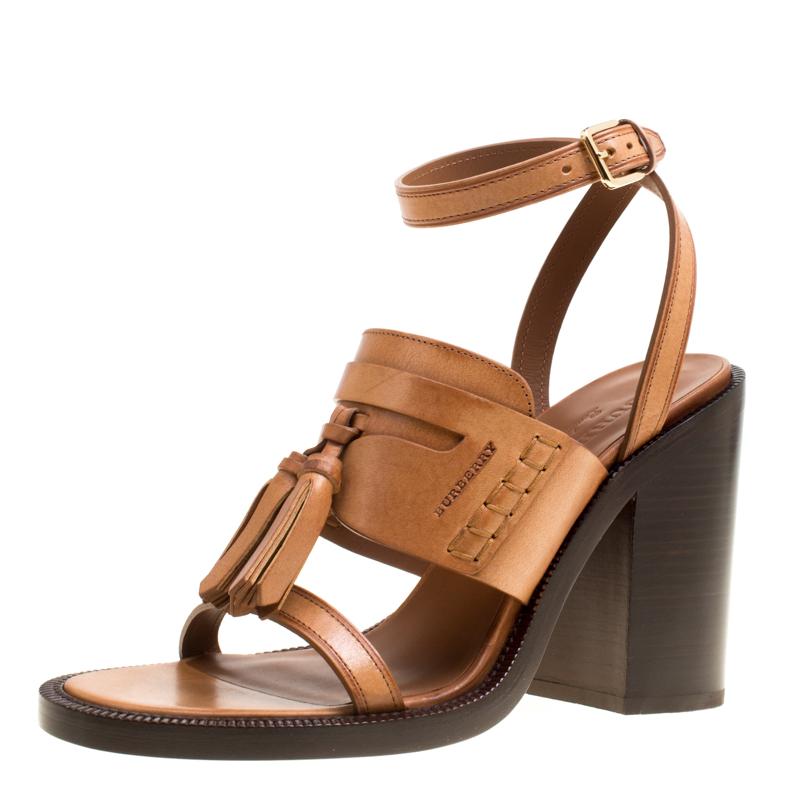 f3741d8640ba ... Brown Leather Bethany Tassel Detail Block Heel Sandals Size 40. nextprev.  prevnext
