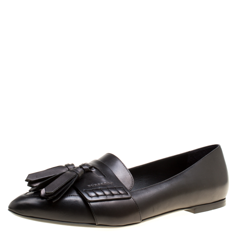 59d2793f516 ... Burberry Black Leather Coledale Tassel Detail Pointed Toe Penny Loafers  Size 39.5. nextprev. prevnext