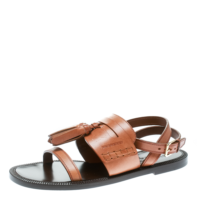 1f07cca9d28e Buy Burberry Cognac Brown Leather Bethany Tassel Detail Flat Sandals Size  37 175957 at best price