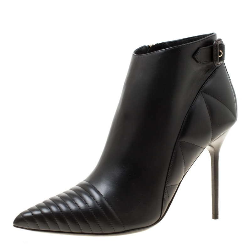 Burberry Black Quilted Leather Alexandra Pointed Toe Ankle Boots Size 40