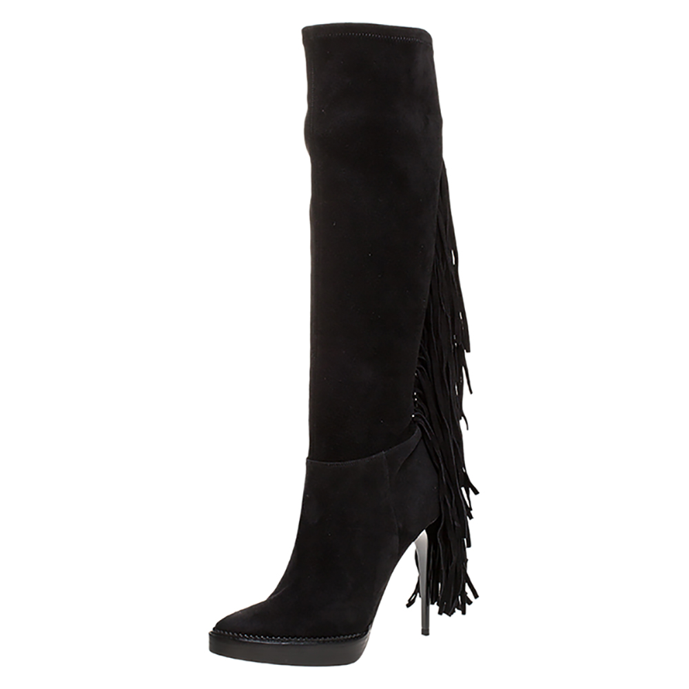 Burberry Black Suede Fringe Detail Caitlin Platform Knee High Boots Size 40