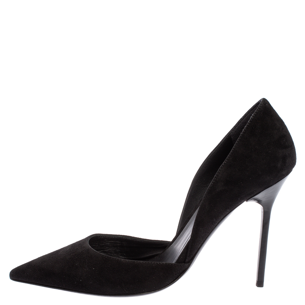 Burberry Black Suede Leather Virna D'Orsay Pointed Toe Pumps Size 38.5