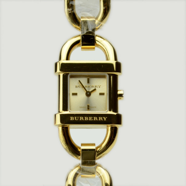 Burberry Gold Plated Stainless Steel Womens Wristwatch 17 MM