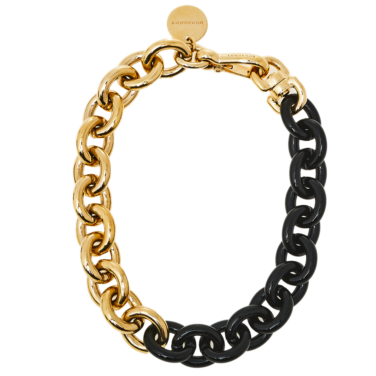 Pre-owned Burberry Two Tone Chunky Chain Choker In Gold