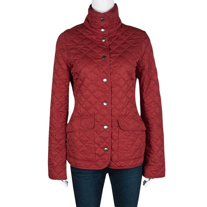 Burberry Brit Red Diamond Quilted Button Front Jacket Xs