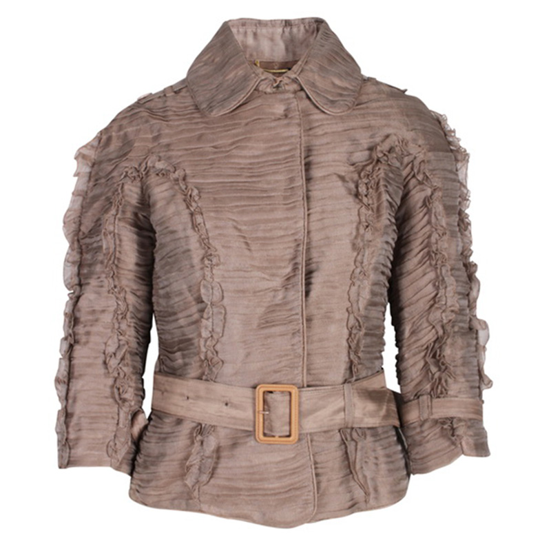 Burberry Beige Pleated Belted Jacket L